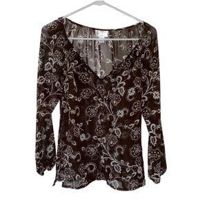 LOFT Women's Sheer Brown Floral Blouse 4P